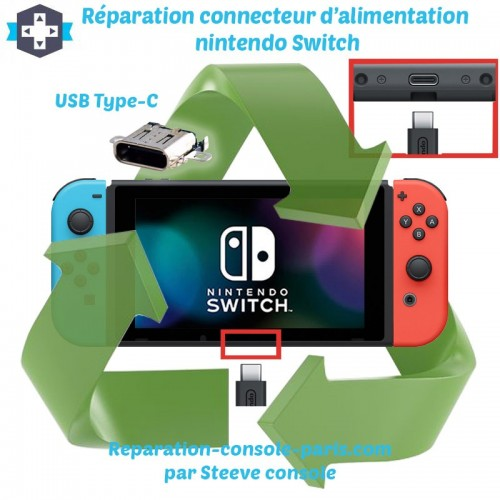 Réparation connecteur de charge alimentation nintendo Switch