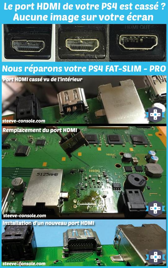 Réparation du port hdmi de votre console ps4 qui n'affiche plus d'iamge sur l'écran.